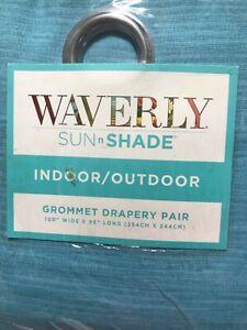 Waverly Sun N Shade Indoor-Outdoor Curtain Panels 100W X 96L  LAGOON PAIR