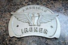 Antique Vtg American Ironer Industrial Equipment Metal Advertising Plaque #2