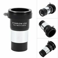 """New 1.25"""" 2X Barlow Lens Multi-coated Metal for Telescope Eyepiece Astronomy"""
