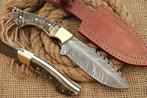 HUNTEX Custom Handmade New Feather Pattern Damascus 250 mm Long Ram Horn Knife