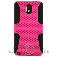 Samsung N9005 Galaxy Note 3 Hybrid Mesh Case Hot Pink Cover Shell Protector Skin