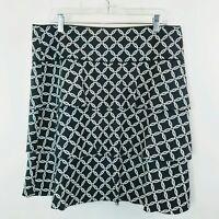 White House Black Market Womens Skirt Black White Chain Print Tiered Sz 12
