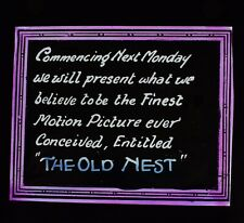 Magic Lantern Slide THE OLD NEST C1921 THE FINEST AMERICAN SILENT MOVIE ADVERT