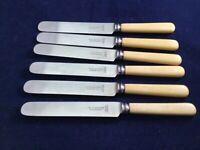 """Vintage Faux Bone Firth Stainless 9.25"""" Dinner Knives by R T Plum Bristol - Rare"""