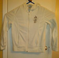 Disney Parks Womens Sz M Minnie Mouse Embroidered Ivory Fleece Jacket Hoodie