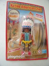 PLAYMOBIL NATIVE AMERICAN CHIEF FIGURE  + BOW    - NEW - COLLECTIBLE
