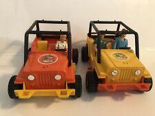 1977 Vintage Fisher Price Safari Toy Truck & Figure Lot Set Orange & Yellow
