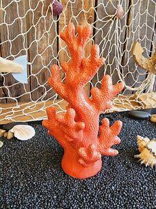 Hübsche Koralle 24 cm Keramik Rot Glänzend Maritime Deko Tisch Meer Riff