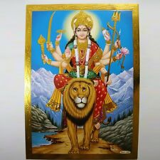 Altarbild Durga, Prägedruck Indien Hinduismus Ma Amba Bild Guru Om Puja 3
