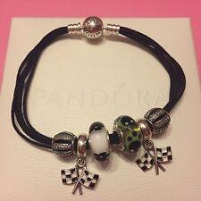 NeW PANDORA Multi-Strand Cotton Cord BLACK Bracelet Medium 18cm or Large 20cm