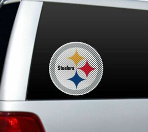 """BIG 10"""" PITTSBURGH STEELERS CAR HOME PERFORATED WINDOW FILM DECAL NFL FOOTBALL"""