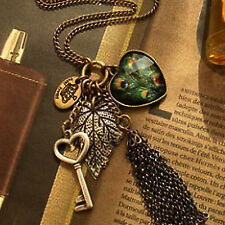 COOL Fashion Women Vintage  Heart Key Pendant Peacock Leaf Long Chain Necklace