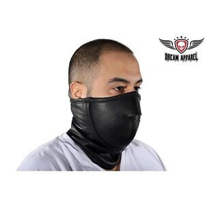 New Motorcycle Genuine Leather Full Face Neck Warmer Ski Mask with Inner Liner