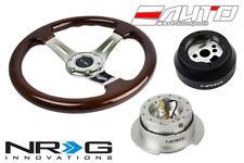 """NRG 330mm Brown Wood CH SP Steering Wheel 1.5"""" Deep 170H Hub Gen2.5 SL Release a"""