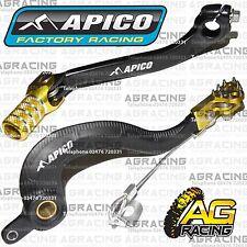 Apico Black Yellow Rear Brake & Gear Pedal Lever For Suzuki RMZ 250 2007-2012 MX