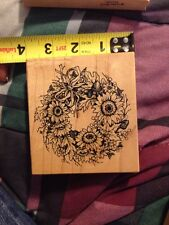 PSX Petaluma Wooden Rubber Stamp Flowers Floral K-1615 Scrapbooking Wreath