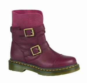 Dr. Martens Slip On Kristy Slouch Boot Cherry Red Virginia / Suede