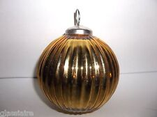 "Vintage KUGEL Christmas Tree Ornament GOLD 4"" Ribbed Ball"