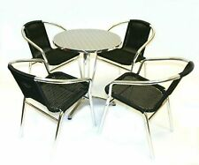 Black Rattan Garden Furniture 4 x Chairs, 1 Table, Patio Sets, Decking Furniture
