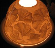 Porzellan Windlicht Lithophanie Ginkgo Blätter Biloba Dome Light Porcelain Blatt