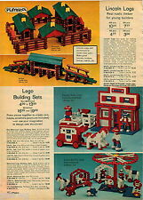 1972 ADVERT Motorized Lego Builing Sets Toy Toys Playskool Lincoln Logs