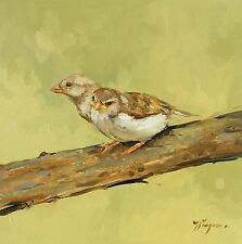 Original Oil painting - wildlife - bird art - sparrows - by j payne