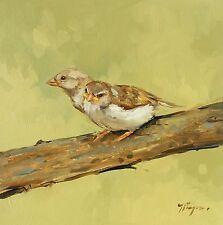 Original Oil painting - wildlife - bird art - sparrows - by j payne
