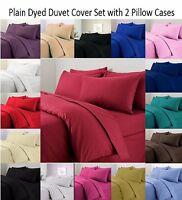 Luxury Plain Dyed Duvet Cover Set Non Iron Polycotton Quilt Cover & Pillow Cover
