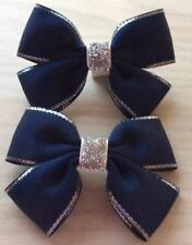 2 Girls Navy Blue And Silver Handmade Ribbon School Hair Bows / Clasps / Clips