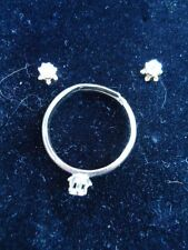 Tiny Diamond Imitation Stud Earrings and Ring Set