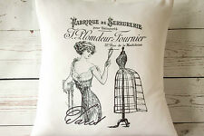 """French Corset - 16"""" cushion cover French shabby vintage chic - UK handmade"""
