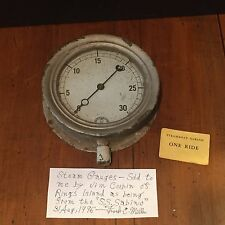 Antique Vintage Steamboat Riverboat Steam Gauge S.S. Sabino c. 1920s Steampunk