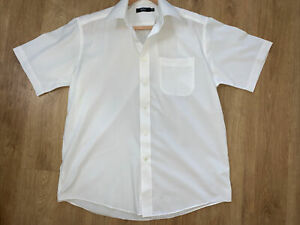 "Marks & Spencer Men's White Short Sleeve Cotton Shirt Size 15 1/2"" Collar VGC"