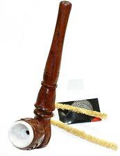 budawi® - Speckstein Pfeife mit Holzmundstück 14 cm Holz-Pfeife, Tabakpfeife