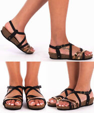Women's Ladies Ankle Strap Summer Flats Holidays Open Toe Girls Sandals Shoes