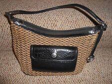 Brighton Purse Handbag Straw Like Weave Beige Brown Black