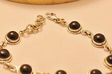 *Damen Armband rund ONYX schwarz 925er Silber Gliederarmband 18 - 20 cm NEU