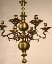 Rare solid bronze antique 1700's Georgian baroque chandelier candelabra  6 light