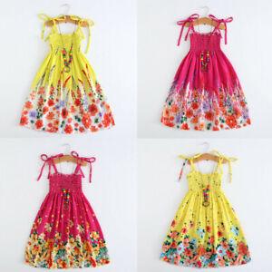 Toddler Kids Girls Baby Floral Bohemian Beach Straps Dress Princess Clothes