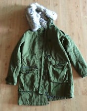 Topshop military style coat faux fur olive green size UK 8 US 4 parka