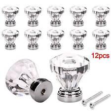 12 Crystal Glass Door Knobs Diamond Drawer Cabinet Furniture Handle Knob Kitchen