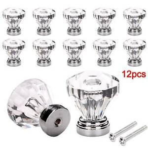 12Pcs Clear Crystal Diamond Glass Door Knobs Cupboard Drawer Handle Cabinet Knob