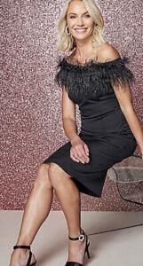 Black Bardot Feather Dress Size 18 Bodycon New Was £99 Fault