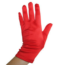 Short Wrist Length Red Satin Gloves ~ DANCE WEDDING PROM EVENING PARTY COSPLAY