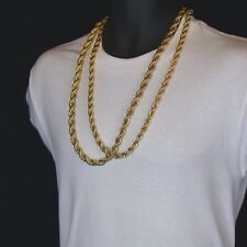 """Men's 24K Gold Plated 10mm & 8mm 30"""" Thick Rope Chain Hip Hop Style Set"""
