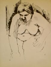 "Fat Nude Woman 26"" x 20"" Ink Drawing-1964-August Mosca"