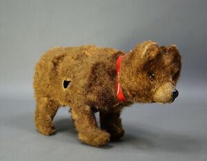 1940's German Wind Up Walking Brown Bear Papier Mache Mechanical Toy Glass Eyes