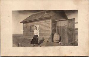 Real Photo Postcard Woman Outside Her House in Newell, South Dakota~763