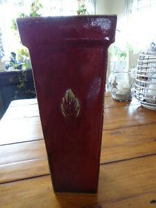 Vase Pottery Decorative Tall Leaf Design All Sides Deep Barn Red Multi Beautiful