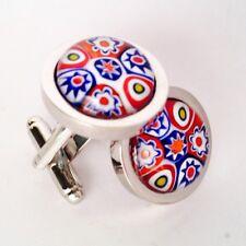 Red White & Blue Murano Millefiori Round Glass & Silver Inlay Chunky Cufflinks.
